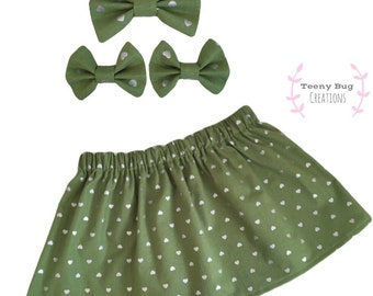 Olive Juice Skirt and Matching Bow