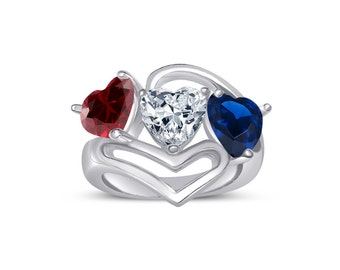 Custom Three Birthstone Heart Ring Held by an Open Heart