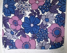 SUMMER SALE Vintage Flower Power Bedspread. Pink and Purple Floral Fabric. Retro Tassel-Edged Bed Cover. Double Bed Cover.