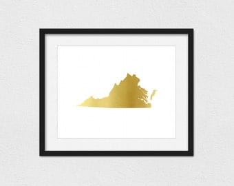 Virginia Printable // Instant Download // Printing Services Available // Faux Gold (Matte) // Foil Printing Available // Gold Virginia Print