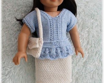American Girl Knit Top, Skirt and Purse (Knitting Pattern)