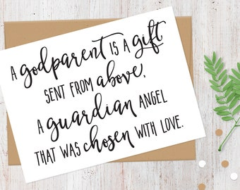Printable Will You Be My Godparents Card | Printable PDF Files | Digital Download |  A Godparent is a Gift | Instant Download