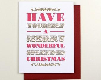 Merry Wonderful Splendid Christmas Letterpress Card