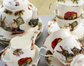 Alice In Wonderland Fine Bone China Tea Set for Four
