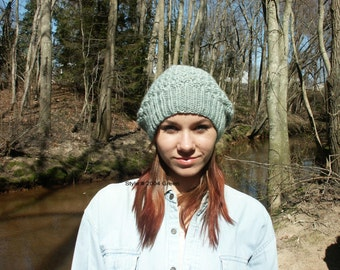 Hand Knitted Rib Slouchy Popcorn Hat