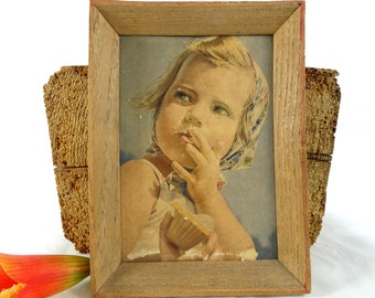 Little girl picture - Vintage girl picture -  Framed girl picture - Sweet girl - Baby girl picture - Girl room decoration