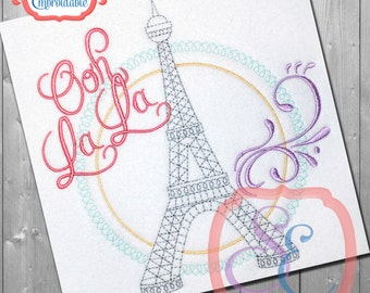 EIFFEL TOWER Ooh La La Design For Machine Embroidery -  Instant Download