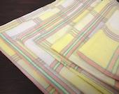 Vintage Cotton Damask Yellow and Peach Plaid Napkins - Fruit Inset - Set of 6