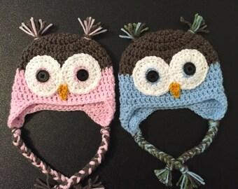 Owl Hat, Crochet Owl Hat, Newborn Owl Hat, Adult Owl Hat, Child Owl Hat, Owl newborn photo prop