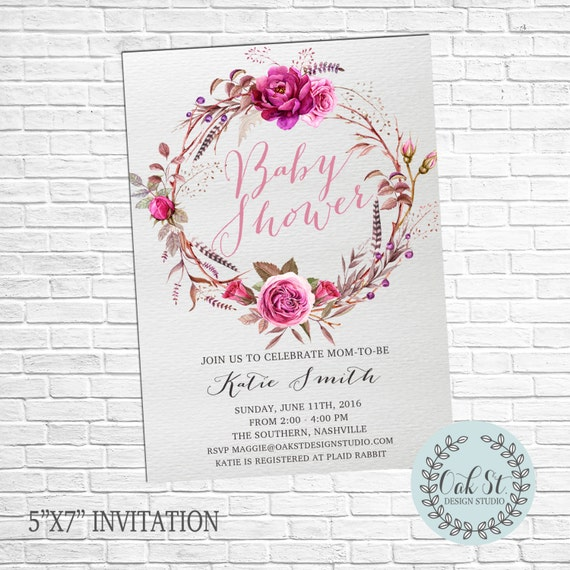bohemian baby shower invitation boho chic shower invite baby shower