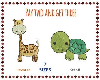 Embroidery design baby giraffe turtle