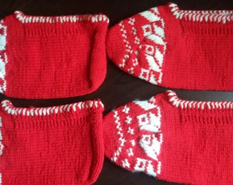 Two pairs knitted slippers, vintage slippers, kids slippers, children slippers