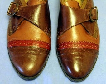 Vintage Euro Club Brown, Red Leather Buckle Loafers, size 6