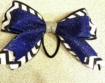 Custom Cheer Bow, Chevron and Solid Color, Glitter Cheer Bows, Cheerleading Competition, Football Bow