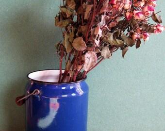Milk Can/vintage can/enamel pot/ enamel blue/ Milk Canister/Metal Milk Jar/70s