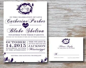 Enchanted Wedding Invitation Set (DIGITAL FILE) 5 x 7 invitation and 5 x 3.5 RSVP card