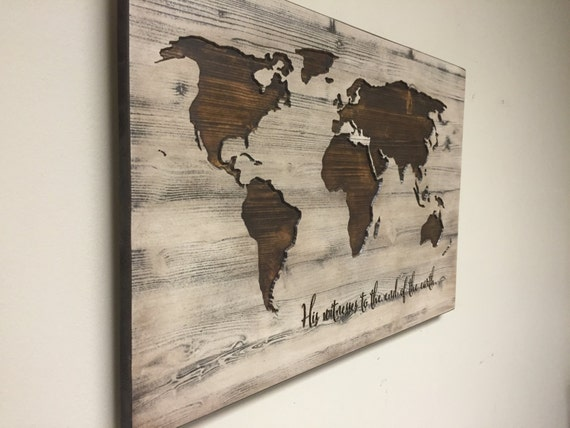 World map wall art spiritual vintage carved wood map his for World map wall art