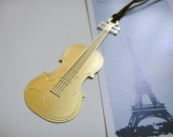 Gold Plated violin Metal Bookmark Flat | Korea Stationery Book Bookmarks | Book Markers Art