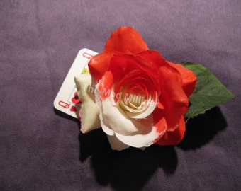 Alice in Wonderland Painting the Roses Red large hairflower