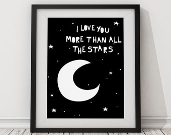 """Typography poster """"I Love You More Than All The Stars"""" kids Poster, Print poster, Wall art, Wall decor, Kids room, Nursery Poster"""