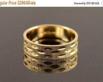 1 Day Sale 14K 6mm Diamond Cut Textured Wedding Ring Size 10.25 Yellow Gold