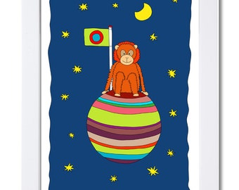 Mr. Orang sitting on his little Planet O-Print-Illustration