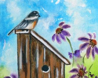 ACEO Original Watercolor, ACEO Original Painting, Original Artist Trading Card, OOAK, Watercolor Original Art, Chickadee, Birdhouse, Garden