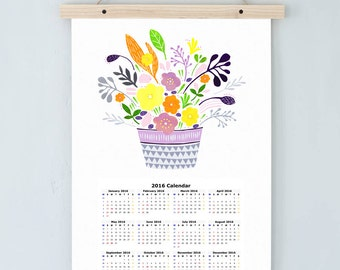 A3 Floral Calendar 2016