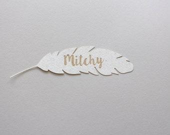 Wedding feather name tag