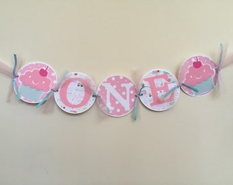 ONE Highchair Birthday Banner , Cupcake ONE highchair banner, cupcake birthday banner, 1st birthday banner, 1st birthday high chair banner