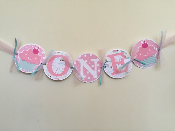 one highchair birthday banner cupcake one highchair banner