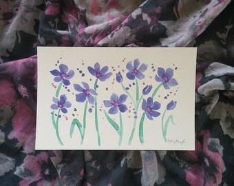 "Watercolor Wild Flowers Original 5.5 x 8.5"" Purple and Green Flora"