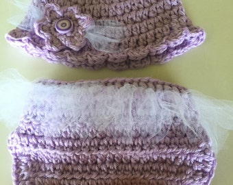 Handmade Girls Tutu Diaper Cover and Flower Hat- Great Photo Prop!