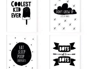 Monochrome Scandinavian nursery print collection