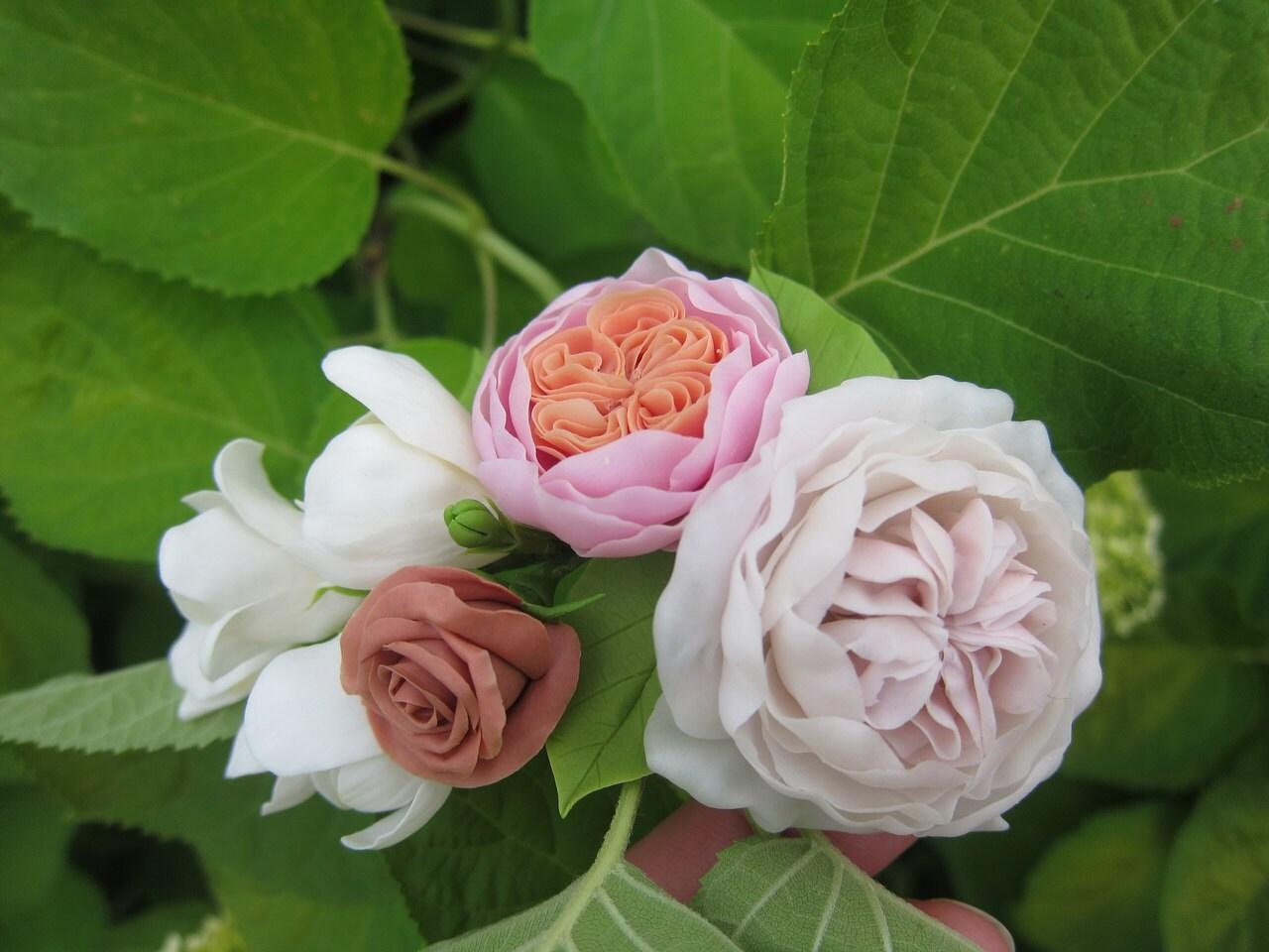 Bridal Flower Comb English Roses Freesia Wedding Flowers