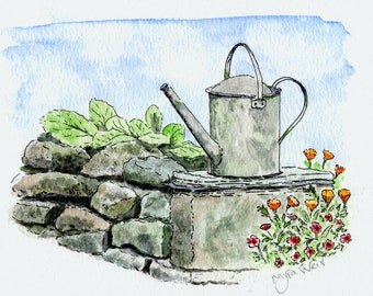 Greeting card. Watering Can. Gardener. BlankFine Lines Art Original Design