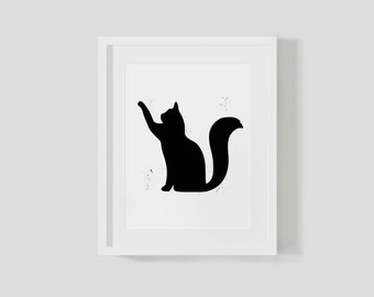 Digital Kitty Cat Print Wall Poster Black And White Kitten Girls Bedroom Ideas Gifts For 2 Year Old Girls Room Decor Art Kids Illustration