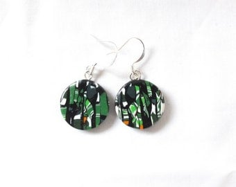 Multicolour earrings, art earrings, polymer earrings, green earrings, ethnic earrings, black earrings, ooak earrings, tribal earrings, bold