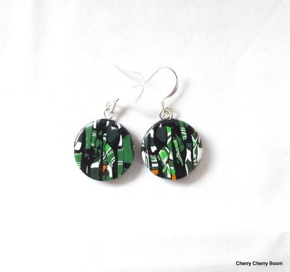 Multicolour earrings, art earrings, polymer earrings, green earrings, ethnic earrings, black earrings, ooak earrings, tribal earrings, bold