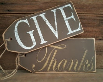 GIVE THANKS Front Door Decor, Wood Sign, Home Decor, Rustic Home Decor, Thanksgiving Wood Sign, Thanksgiving Decorations