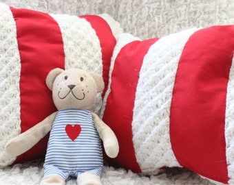 White and Red Pillow Cover