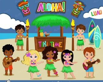 50% OFF SALE Luau Clipart, Hawaii Clipart, Hula Girl ClipArt , Aloha Clipart, Tiki Clipart, Digital Clipart Personal and Commercial Use
