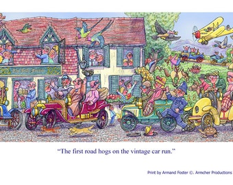 Print - The FIRST ROAD HOGS on the Vintage Car Run by Armand Foster