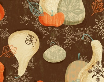 Gatherings Thanksgiving Gourds on Brown Holiday  Cotton Fabric  Newcastle BTY
