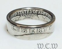 Silver Washington Quarter Coin Ring - US 1964 25 Cents
