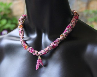 thin cotton necklace,pink,colorful