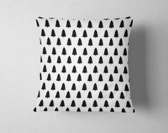Double-sided black and white nordic pine tree throw pillow