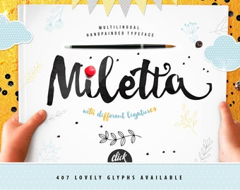 Brush font with extras. Miletta handwritten calligraphy brush script with numerous alternates by Blessed Print