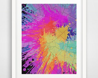 Vibrant splatters print, Modern Art print, Paint Art, Paint Splatters wall print, Abstract Art, Modern decor, Abstract paint decor
