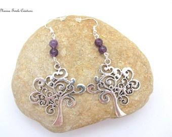 Earrings gemstone,sterling silver earrings,gemstone jewelry,tree of life jewelry,amethyst,earrings amethyst, tree of life earrings